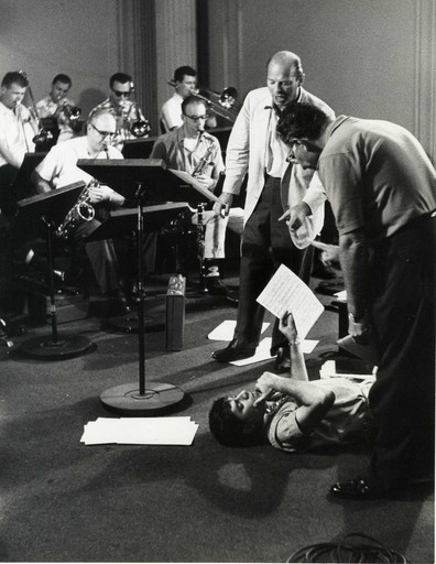 Conductor Lou Brown, Jerry Lewis, and producer Ernest Glucksman, scoring session for The Nutty Professor, 1963. Photo: Bud Fraker. Courtesy Chris Lewis