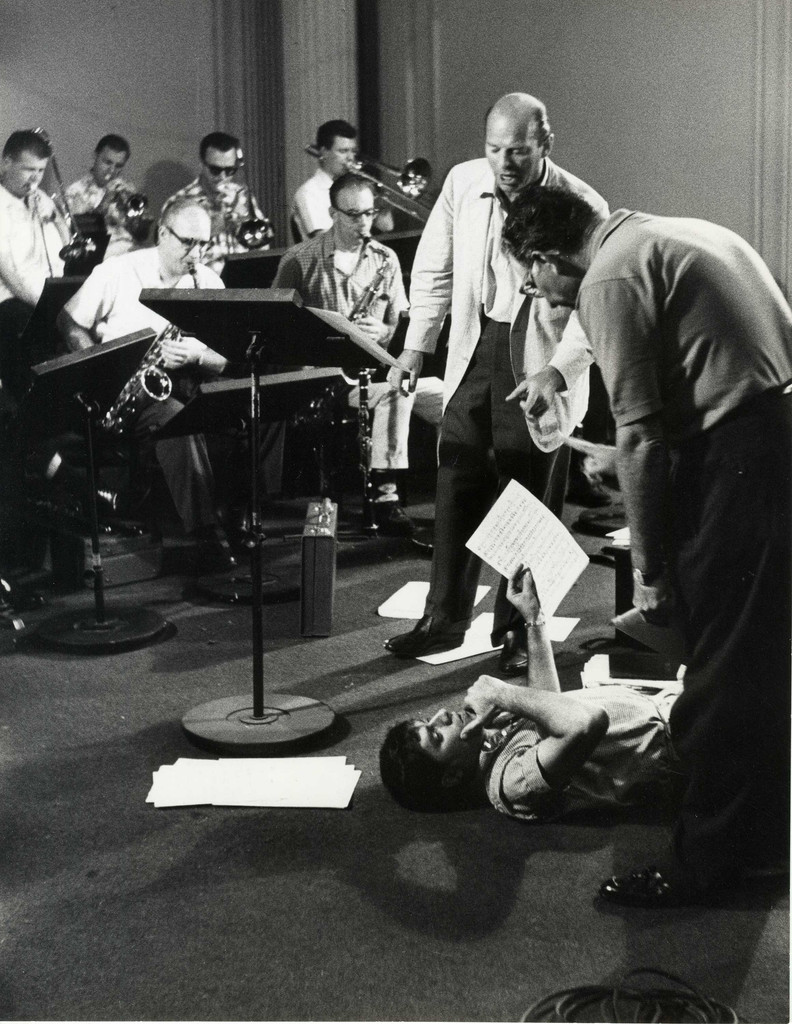 Conductor Lou Brown, Jerry Lewis, and producer Ernest Glucksman, scoring session for *The Nutty Professor*, 1963. Photo: Bud Fraker. Courtesy Chris Lewis