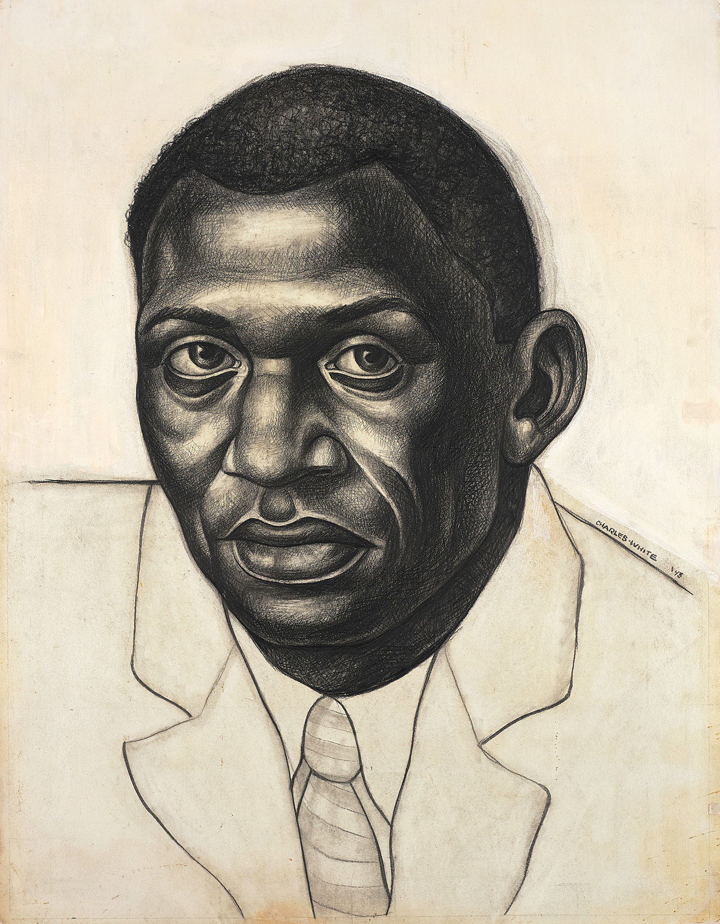 "Charles White. _Paul Robeson (Study for Contribution of the Negro to Democracy in America)_. 1942-43. Carbon pencil over charcoal, with additions and corrections in white gouache, and border in carbon pencil, on cream drawing board. 24 7/8 × 19 1/16"" (63.2 × 48.4 cm). Princeton University Art Museum. Museum purchase, Kathleen Compton Sherrerd Fund for Acquisitions in American Art. © The Charles White Archives/ Photo: Art Resource, NY"