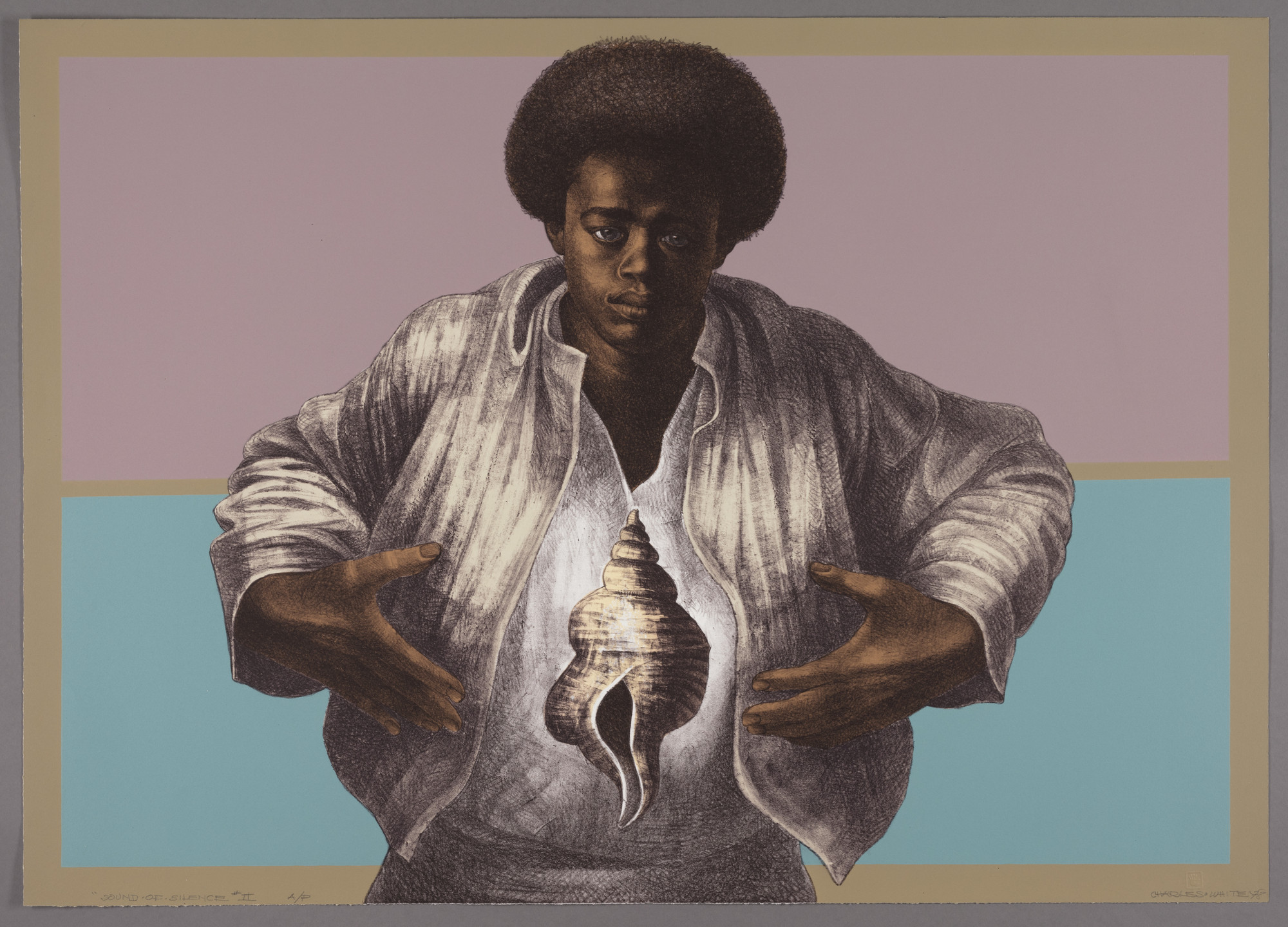 "Charles White. _Sound of Silence_. 1978. Lithograph, 25 1/8 x 35 5/16"" (63.8 x 89.7 cm). The Art Institute of Chicago, Margaret Fisher Fund. © The Charles White Archives/ © The Art Institute of Chicago"