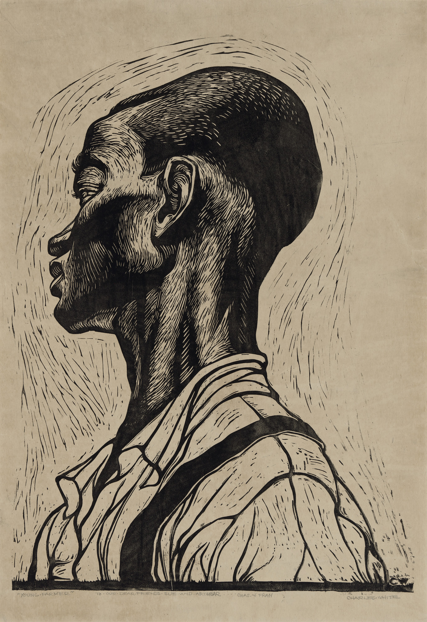 "Charles White. _Young Farmer_. 1953. Linoleum cut. 28 3/4 x 19 13/16"" (73 x 50.4 cm). Museum of Fine Arts, Boston. Lee M. Friedman Fund and The Heritage Fund for a Diverse Collection. © The Charles White Archives/ Photo © 2018 Museum of Fine Arts, Boston"