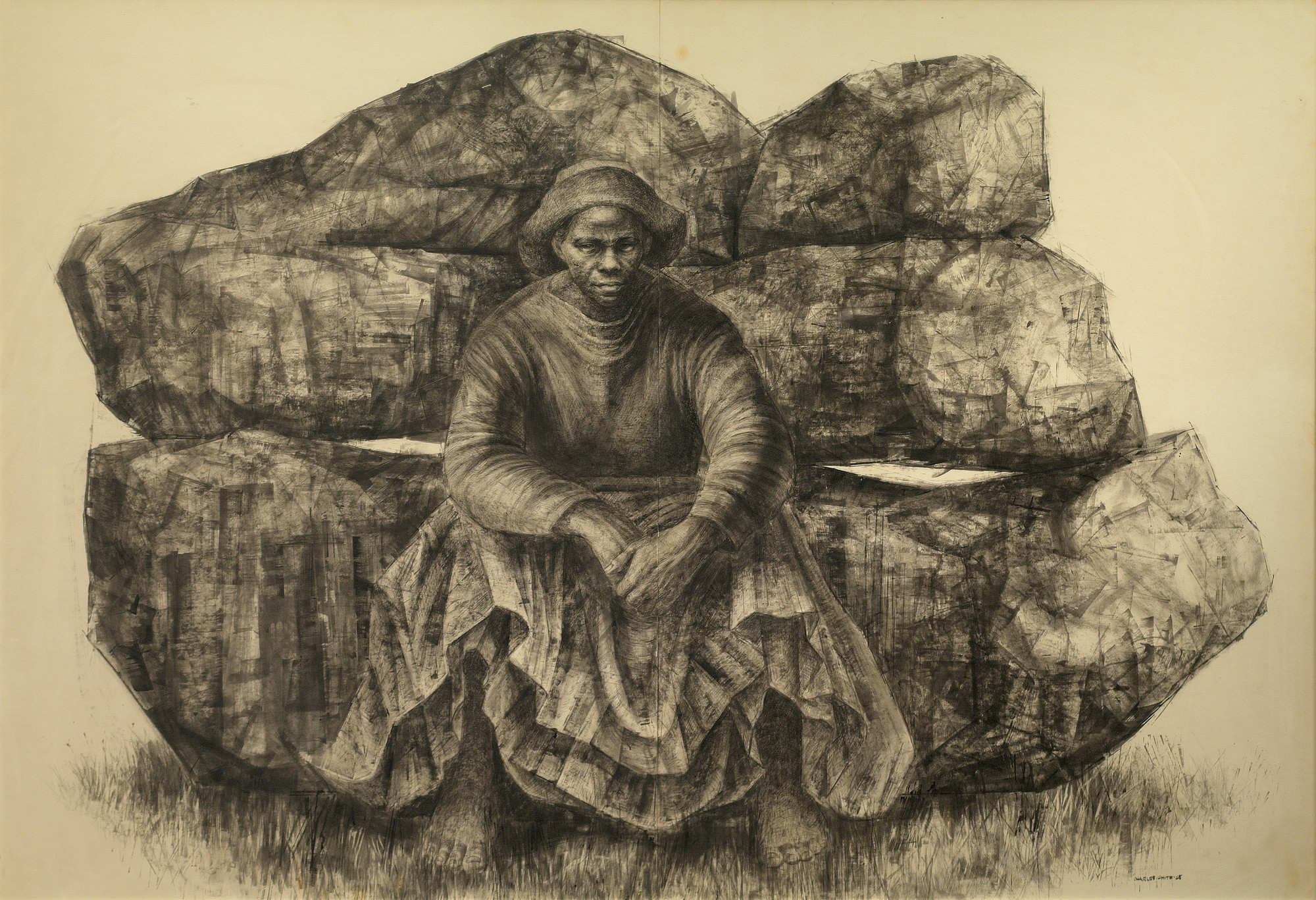 "Charles White. _General Moses (Harriet Tubman)_. 1965. Ink on paper, 47 × 68"" (119.4 × 172.7 cm). Private collection. © The Charles White Archives/ Courtesy of Swann Auction Galleries"