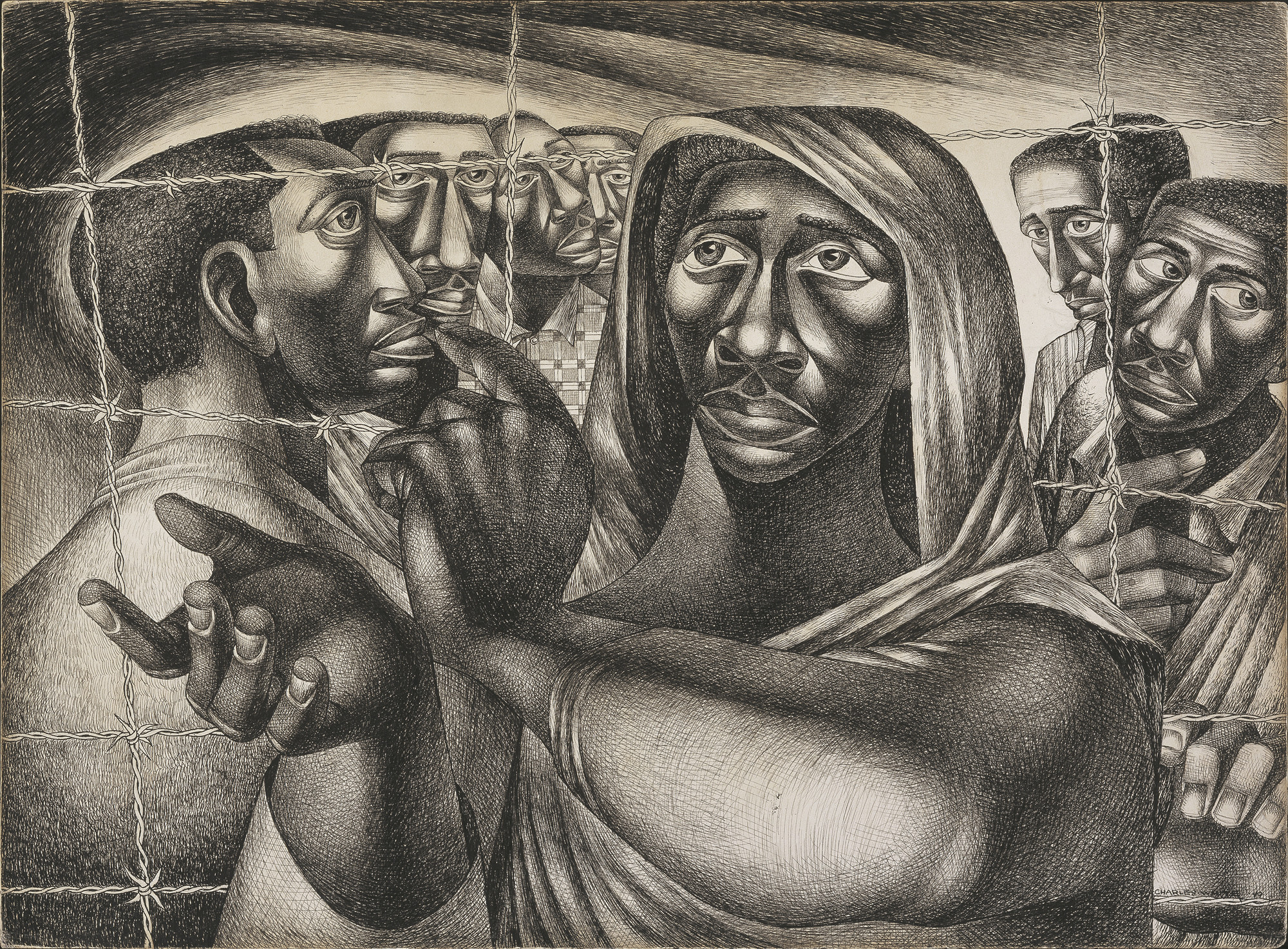 "Charles White. _Trenton Six_. 1949. Ink over graphite underdrawing on paperboard. 21 15/16 × 29 7/8"" (55.7 × 75.9 cm). Amon Carter Museum of American Art, Fort Worth, TX. © The Charles White Archives"