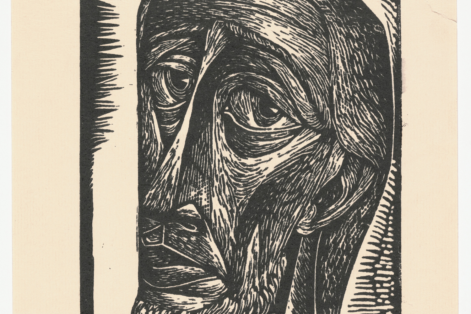 "Charles White. Untitled (Bearded Man). c. 1949. Linoleum cut. Composition: 7 13/16 x 6"" (19.9 x 15.2 cm); sheet: 10 1/2 x 8 5/16"" (26.7 x 21.1 cm). John B. Turner Fund. © 2018 The Charles White Archives. Photo: Peter Butler"