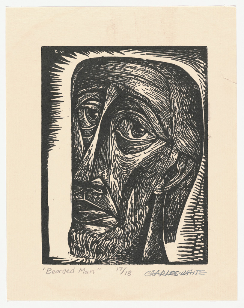 "Charles White. *Untitled (Bearded Man)*. c. 1949. Linoleum cut. Composition: 7 13/16 x 6"" (19.9 x 15.2 cm); sheet: 10 1/2 x 8 5/16"" (26.7 x 21.1 cm). John B. Turner Fund. © 2018 The Charles White Archives. Photo: Peter Butler"