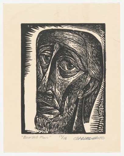 "Charles White. Untitled (Bearded Man). c. 1949. Linoleum cut. Composition: 7 13⁄16 x 6"" (19.9 x 15.2 cm); sheet: 10 1⁄2 x 8 5⁄16"" (26.7 x 21.1 cm). John B. Turner Fund. © 2018 The Charles White Archives. Photo: Peter Butler"