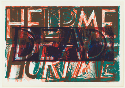 "Bruce Nauman. Help Me Hurt Me. 1975. Lithograph. 32 3⁄8 x 48 1⁄4"" (82.2 x 122.5 cm). Jeanne C. Thayer Fund. © 2018 Bruce Nauman / Artists Rights Society (ARS), New York. Photo: Thomas Griesel"