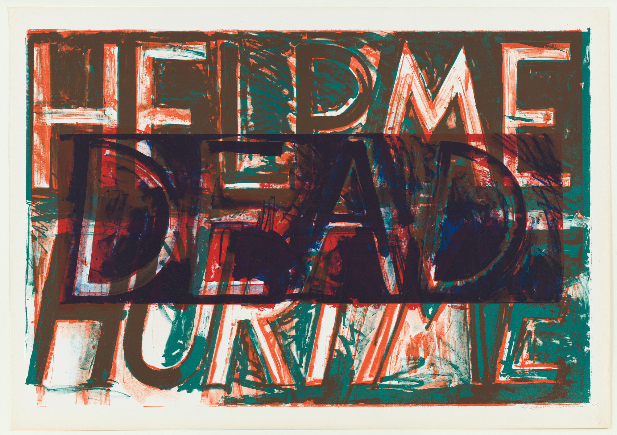 "Bruce Nauman. Help Me Hurt Me. 1975. Lithograph. 32 3/8 x 48 1/4"" (82.2 x 122.5 cm). Jeanne C. Thayer Fund. © 2018 Bruce Nauman / Artists Rights Society (ARS), New York. Photo: Thomas Griesel"