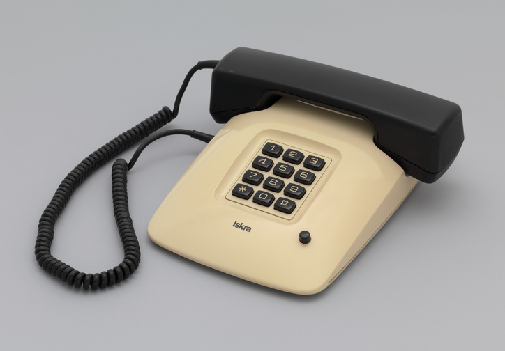 "Davorin Savnik. ETA 85 Telephone. 1979. Plastic and other materials. 2 7/8 x 8 3/4 x 10"" (7.3 x 22.2 x 25.4 cm). Gift of the Museum of Architecture and Design, Ljubljana, Slovenia. Photo: Thomas Griesel"