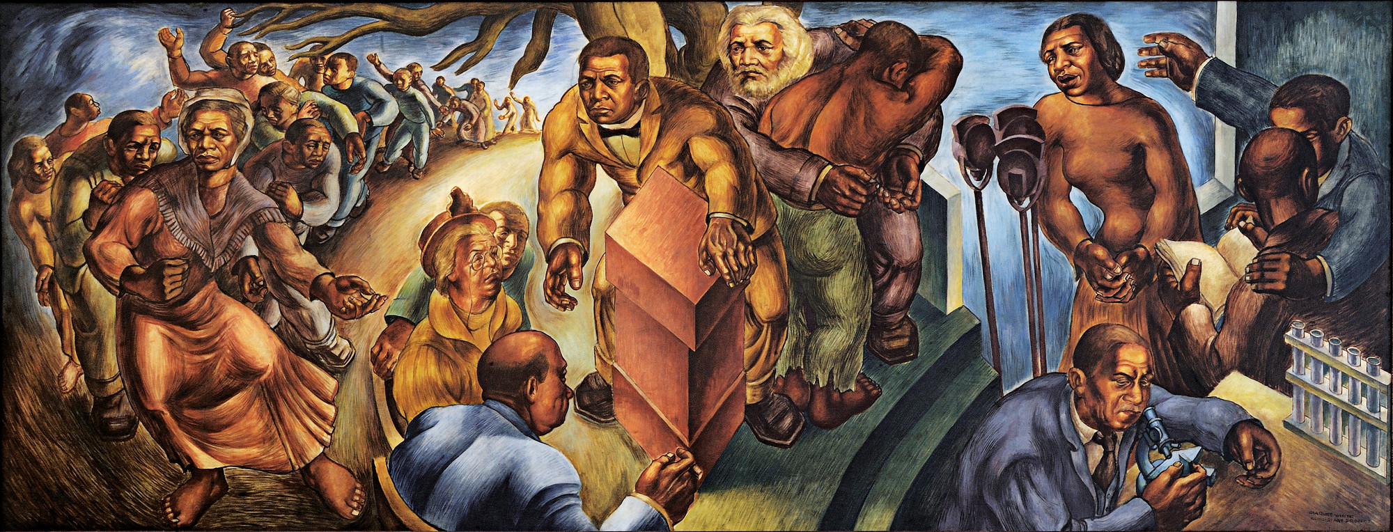 Charles White. Five Great American Negroes. 1939. The mural depicts from left to right: Sojourner Truth, Booker T. Washington, Frederick Douglass, Marian Anderson, and George Washington Carver.