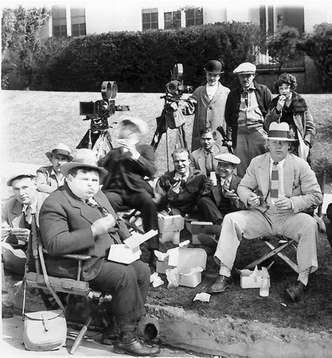 "Daffy in Deutschland: ""Charles Puffy and crew having lunch while shooting a 1920s Universal comedy"""
