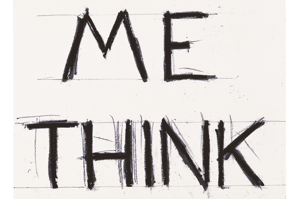 "Bruce Nauman. Make Me Think Me. 1993. Graphite and masking tape on paper. 55 7/8 × 38 1/4"" (142 × 97.2 cm). Froehlich Collection, Stuttgart"