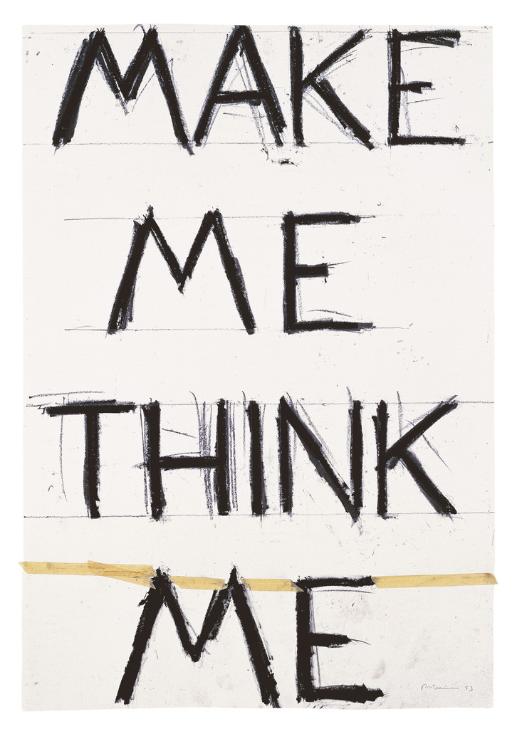 "Bruce Nauman. *Make Me Think Me*. 1993. Graphite and masking tape on paper. 55 7/8 × 38 1/4"" (142 × 97.2 cm). Froehlich Collection, Stuttgart"
