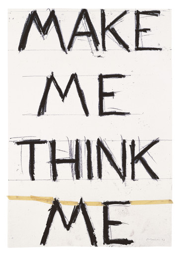 "Bruce Nauman. Make Me Think Me. 1993. Graphite and masking tape on paper. 55 7⁄8 × 38 1⁄4"" (142 × 97.2 cm). Froehlich Collection, Stuttgart"