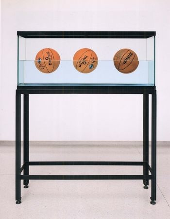 Jeff Koons. Three Ball 50/50 Tank (Two Dr. J. Silver Series, Wilson Supershot). 1985
