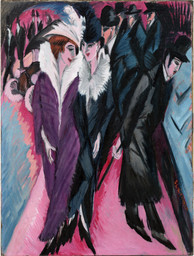 "Ernst Ludwig Kirchner. Street, Berlin (Straße, Berlin). 1913. Oil on canvas, 47 1/2 x 35 7/8"" (120.6 x 91.1 cm). The Museum of Modern Art. Purchase. © 2008 Ingeborg and Dr. Wolfgang Henze-Ketterer, Wichtrach/Bern"