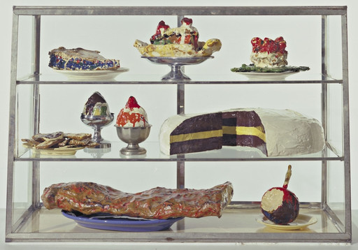 "Pastry Case, I Date: 1961-62 Medium: Burlap and muslin soaked in plaster, painted with enamel, metal bowls, and ceramic plates in glass-and-metal case Dimensions: 20 3⁄4 x 30 1⁄8 x 14 3⁄4"" (52.7 x 76.5 x 37.3 cm) Credit Line: The Sidney and Harriet Janis Collection MoMA Number: 639.1967.a-dd"