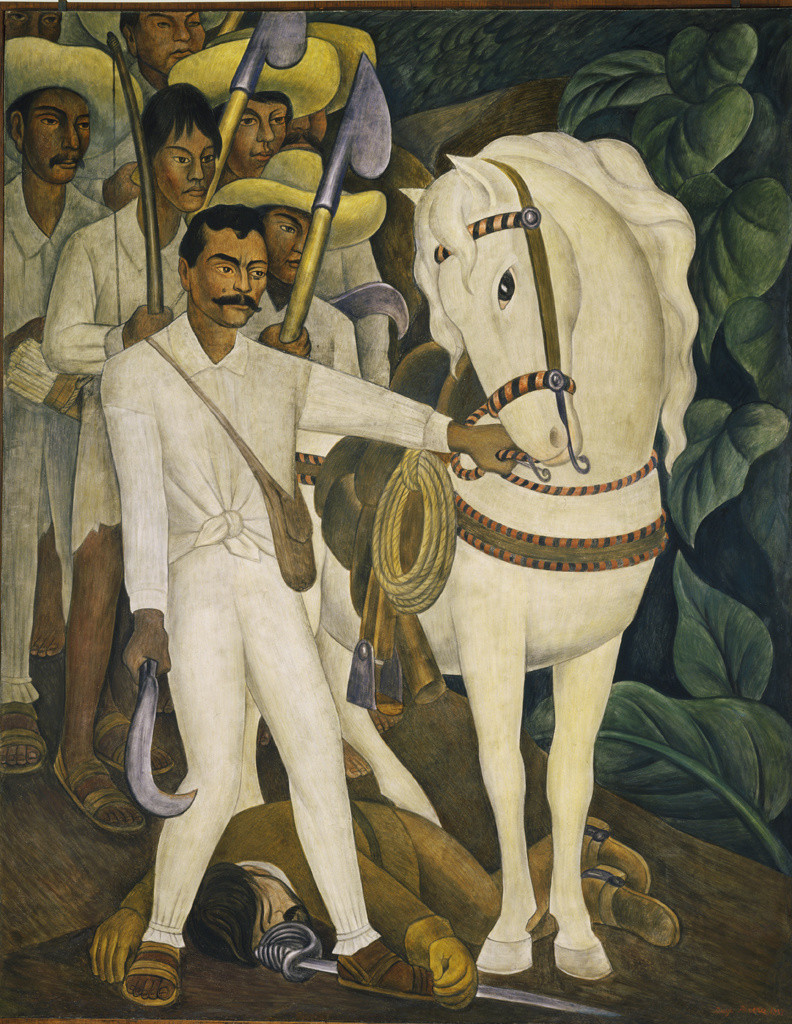 "Diego Rivera. _Agrarian Leader Zapata._ 1931. Fresco, 7' 9 3/4"" x 6' 2"" (238.1 x 188 cm). The Museum of Modern Art. Abby Aldrich Rockefeller Fund"