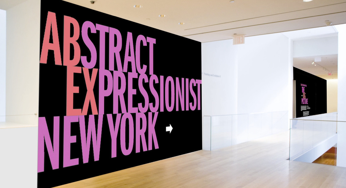 Abstract Expressionist exhibition wall panel mockup