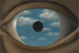 "René Magritte. The False Mirror. Le Perreux-sur-Marne, 1928. Oil on canvas. 21 1/4 x 31 7/8"" (54 x 80.9 cm). Purchase © 2013 C. Herscovici, Brussels / Artists Rights Society (ARS), New York"