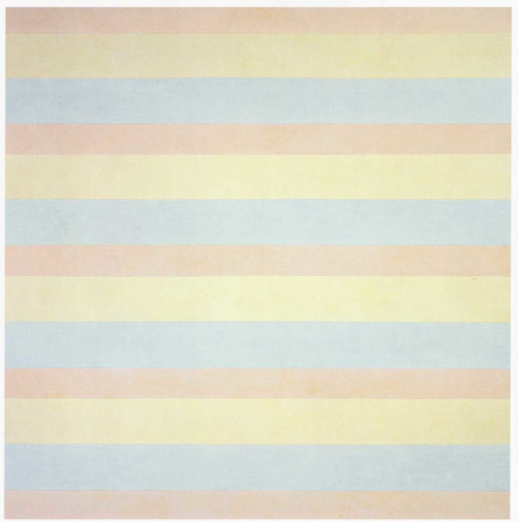 "Agnes Martin. *With My Back to the World*. 1997. Synthetic polymer paint on canvas, six panels, each 60 x 60"" (152.5 x 152.5 cm). Fractional and promised gift of the Ovitz Family Collection. © 2018 Estate of Agnes Martin/Artists Rights Society (ARS), New York"