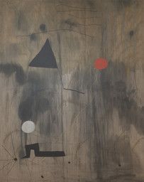 "Joan Miró. The Birth of the World. Montroig, late summer–fall 1925. Oil on canvas, 8' 2 3/4"" x 6' 6 3/4"" (250.8 x 200 cm). Acquired through an anonymous fund, the Mr. and Mrs. Joseph Slifka and Armand G. Erpf Funds, and by gift of the artist. © 2018 Successió Miró/Artists Rights Society (ARS), New York/ADAGP, Paris"