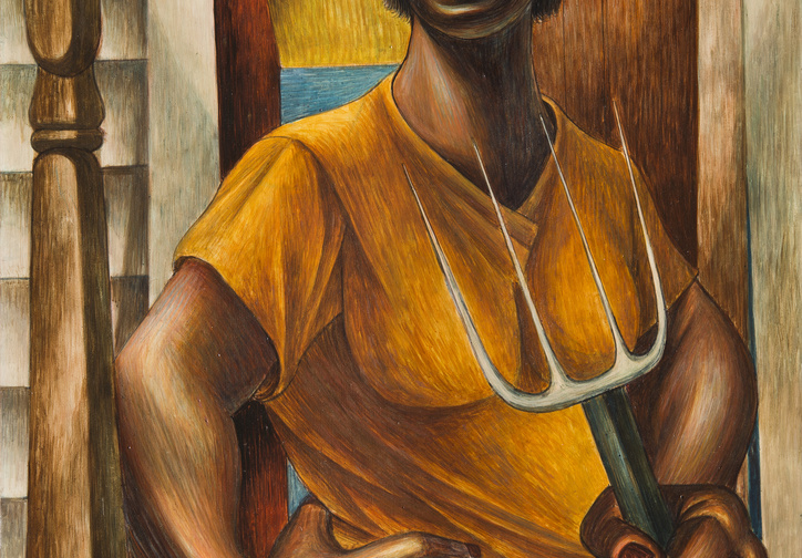 Charles White. Our Land. 1951. Egg tempera on panel, 24 x 20″ (61 x 50.8 cm). Private Collection. © The Charles White Archives/Photo: Gavin Ashworth. Courtesy Jonathan Boos