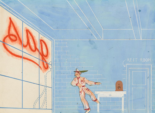 Paul Cadmus. Set design for the ballet Filling Station. 1937. Cut-and-pasted paper, gouache, and pencil on paper, 8 × 10 7/8″ (20.3 × 27.6 cm). The Museum of Modern Art, New York. Gift of Lincoln Kirstein, 1941. © 2018 Estate of Paul Cadmus