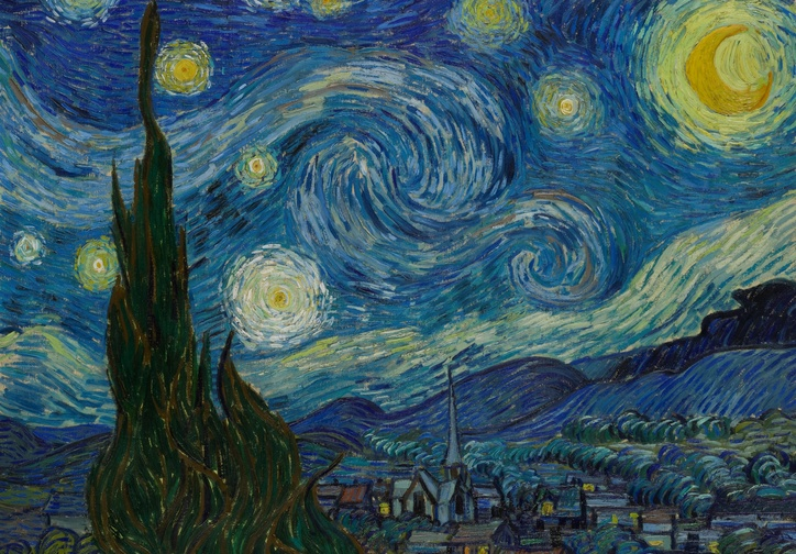 Vincent van Gogh. The Starry Night. Saint Rémy, June 1889. Oil on canvas, 29 x 36 1/4″ (73.7 x 92.1 cm). The Museum of Modern Art, New York. Acquired through the Lillie P. Bliss Bequest