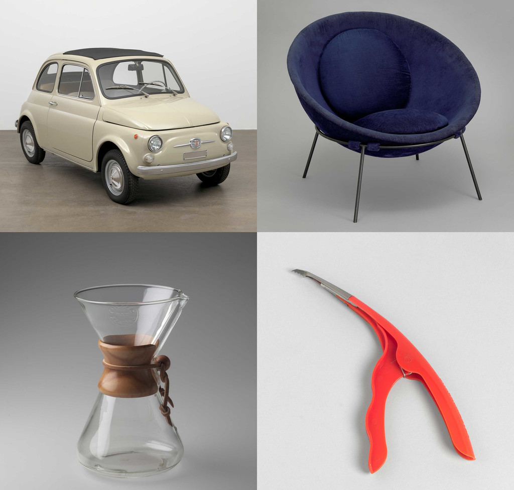 "Clockwise, from top left: Dante Giacosa. 500f city car. Designed 1957 (this example 1968). Steel with fabric top, 52 × 52 × 116 7/8"" (132.1 × 132.1 × 296.9 cm). Manufacturer: Fiat S.p.A., Turin, Italy. Gift of Fiat Chrysler Automobiles Heritage; Lina Bo Bardi. Poltrona Bowl chair. 1951. Steel and fabric, 21 5/8 × 33 1/16 × 33 1/16"" (55 × 84 × 84 cm). Committee on Architecture and Design Funds; Irwin Gershen, Gershen-Newark. Shrimp Cleaner. 1954. Plastic and metal, 8 1/2 x 3 1/4 x 3/4"" (21.6 x 8.3 x 1.9 cm). Manufacturer: Plastic Dispensers Inc., Newark, NJ. Department purchase; Peter Schlumbohm. Chemex Coffee Maker. 1941. Pyrex glass, wood, and leather, 9 1/2 x 6 1/8"" (24.2 x 15.5 cm). Manufacturer: Chemex Corp., New York, NY. Gift of Lewis & Conger"
