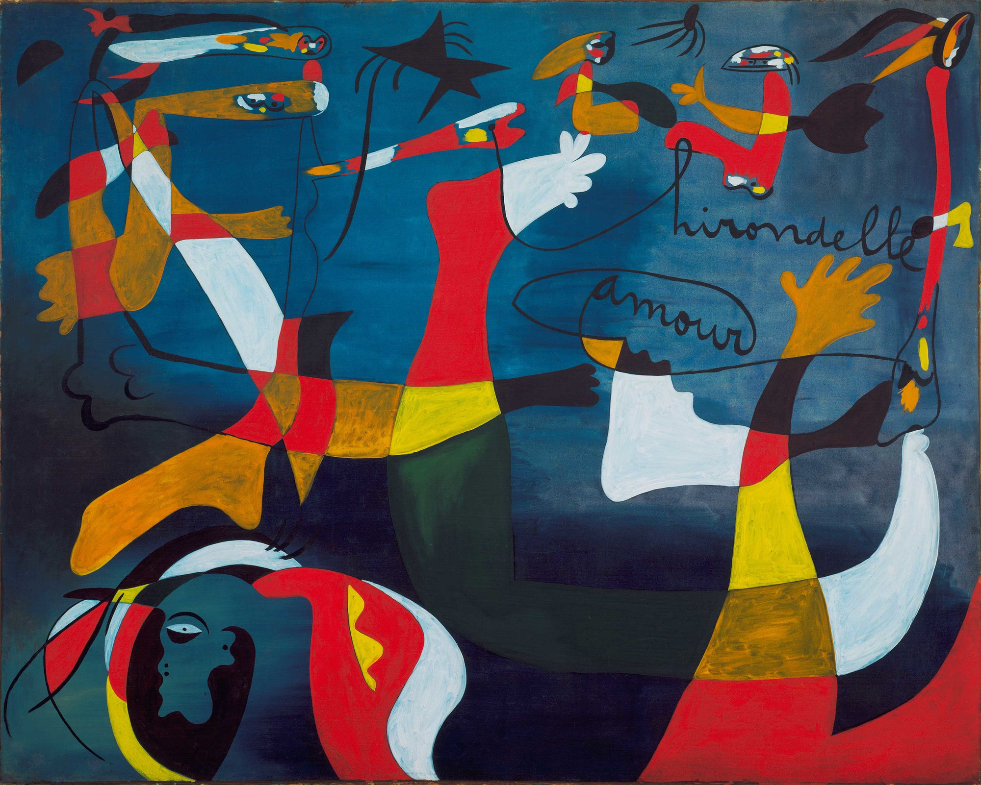 "Joan Miró. ""Hirondelle Amour"". 1933–34. Oil on canvas, 6' 6 1/2"" x 8' 1 1/2"" (199.3 x 247.6 cm). Gift of Nelson A. Rockefeller. © 2018 Successió Miró/Artists Rights Society (ARS), New York/ADAGP, Paris"