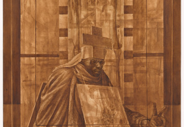 "Charles White. Black Pope (Sandwich Board Man). 1973. Oil wash on board, 60 × 43 7/8"" (152.4 × 111.4 cm). Richard S. Zeisler Bequest (by exchange), The Friends of Education of The Museum of Modern Art, Committee on Drawings Fund, Dian Woodner, and Agnes Gund. © 2018 The Charles White Archives"