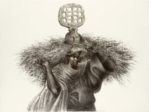 Charles White. J'Accuse #7. 1966. Charcoal on paper, 39 1⁄4 × 51 1/2″ (99.7 × 130.8 cm). Private collection. © The Charles White Archives/Photo courtesy of Michael Rosenfeld Gallery LLC, New York, NY