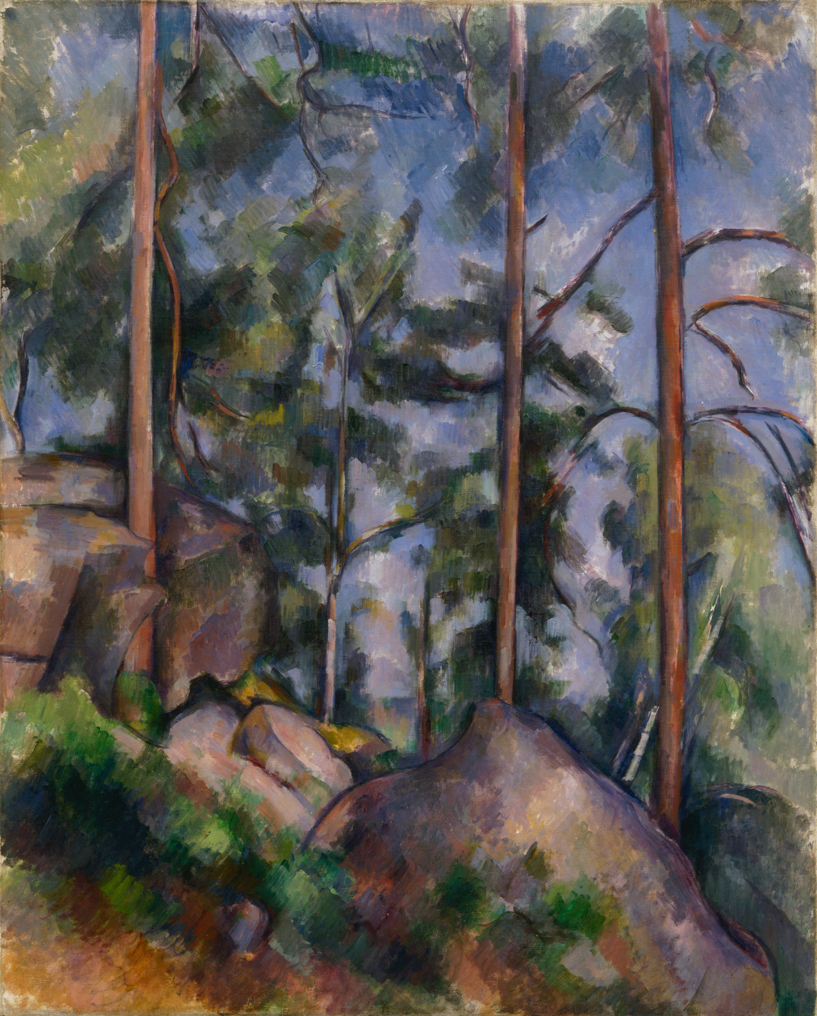 "Paul Cézanne. Pines and Rocks (Fontainebleau?). 1897. Oil on canvas, 32 x 25 3/4"" (81.3 x 65.4 cm). Lillie P. Bliss Collection."