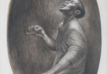 Charles White. Folksinger. 1957. Ink on board, 52 × 34″ (132.1 × 86.4 cm). Collection Pamela and Harry Belafonte. © 1957 The Charles White Archives. Photo: Christopher Burke Studios