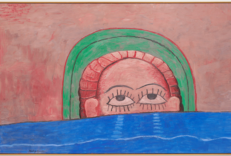 Philip Guston. <em>Source</em>. 1976. Oil on canvas, 6' 3&quot; x 9' 9&quot; (190.5 x 297.2 cm). Gift of Edward R. Broida in honor of Uncle Sidney Feldman. © 2018 The Estate of Philip Guston