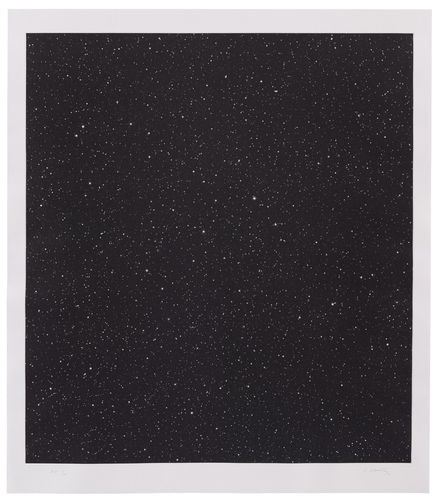 "Vija Celmins. *Untitled (Large Night Sky)*. 2016. Mezzotint, plate: 36 5/8 × 33 1/16"" (93 × 84 cm); sheet: 41 5/16 × 35 13/16"" (105 × 91 cm). Simmelink/Sukimoto Editions, Ventura, California. Gift of Jack Shear. © Vija Celmins, Courtesy Matthew Marks Gallery"