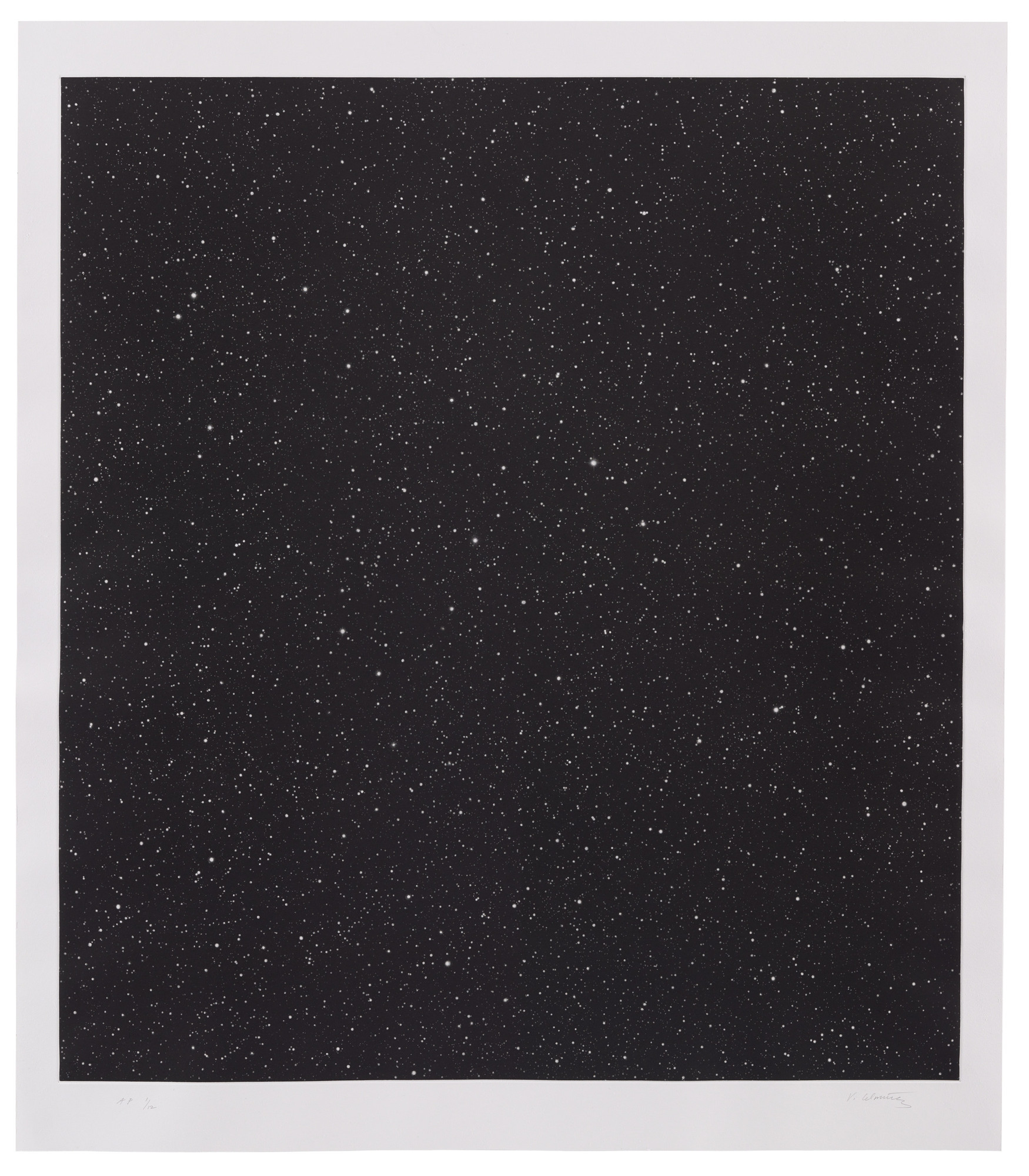 "Vija Celmins. Untitled (Large Night Sky). 2016. Mezzotint, plate: 36 5/8 × 33 1/16"" (93 × 84 cm); sheet: 41 5/16 × 35 13/16"" (105 × 91 cm). Simmelink/Sukimoto Editions, Ventura, California. Gift of Jack Shear. © Vija Celmins, Courtesy Matthew Marks Gallery"