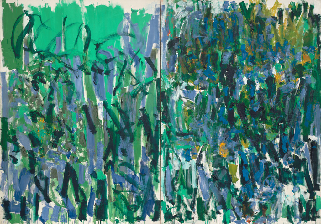 "Joan Mitchell. *No Rain*. 1976. Oil on canvas, two panels, 9' 2"" x 13' 1 /58"" (279.5 x 400.4 cm). Gift of The Estate of Joan Mitchell"