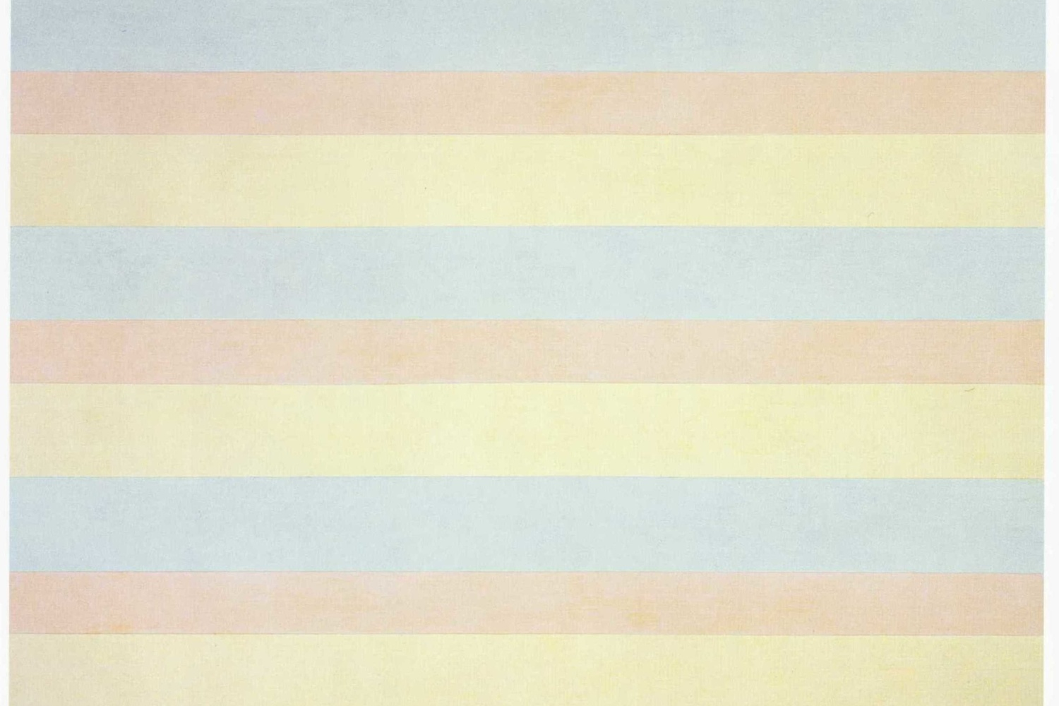 "Agnes Martin. With My Back to the World. 1997. Synthetic polymer paint on canvas, six panels, each 60 x 60"" (152.5 x 152.5 cm). Fractional and promised gift of the Ovitz Family Collection. © 2018 Estate of Agnes Martin/Artists Rights Society (ARS), New York"