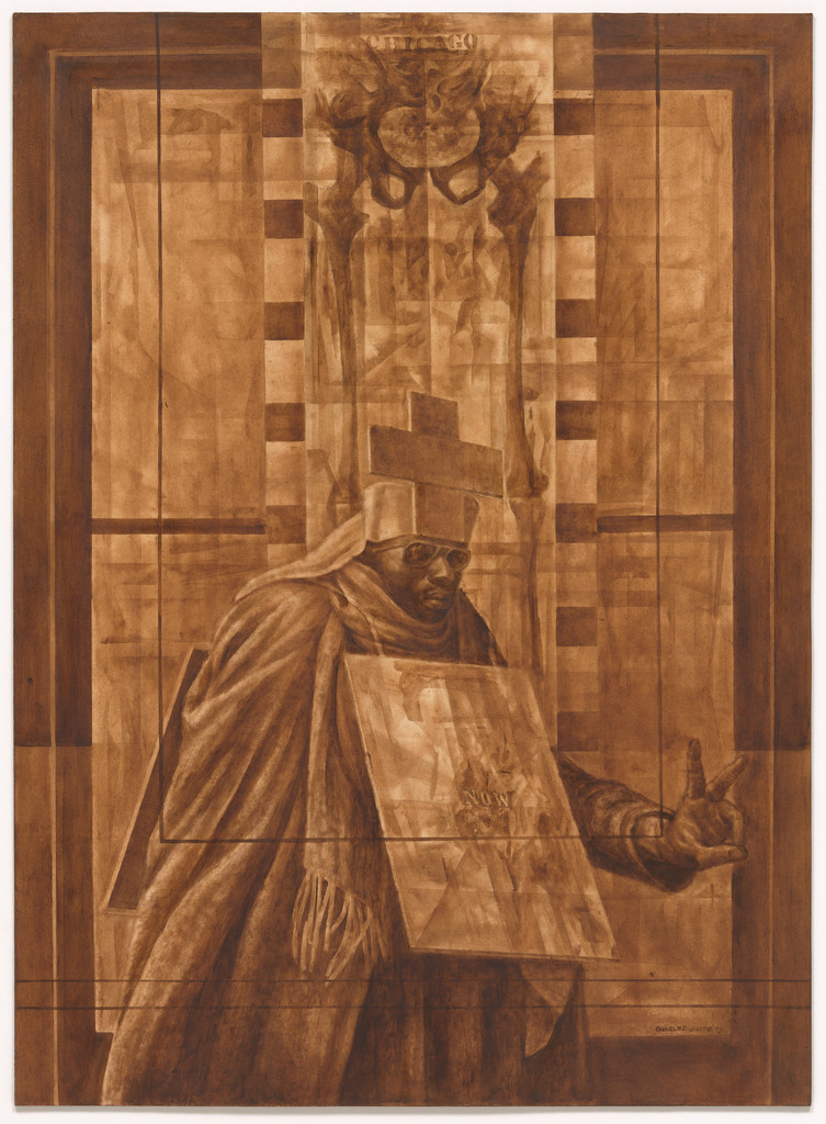 "Charles White. *Black Pope (Sandwich Board Man)*. 1973. Oil wash on board, 60 × 43 7/8"" (152.4 × 111.4 cm). Richard S. Zeisler Bequest (by exchange), The Friends of Education of The Museum of Modern Art, Committee on Drawings Fund, Dian Woodner, and Agnes Gund. © 2018 The Charles White Archives"