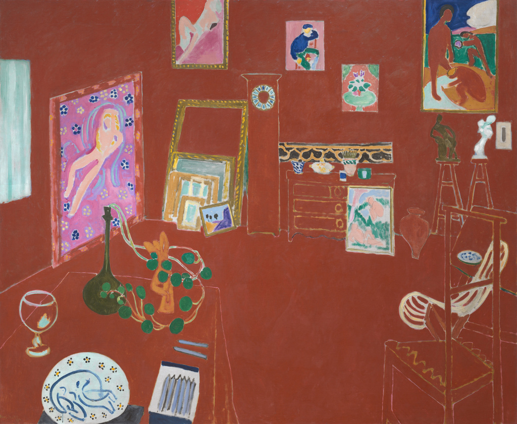"Henri Matisse. *The Red Studio*. 1911. Oil on canvas, 71 1/4"" x 7' 2 1/4"" (181 x 219.1 cm). Mrs. Simon Guggenheim Fund. © 2018 Succession H. Matisse/Artists Rights Society (ARS), New York"