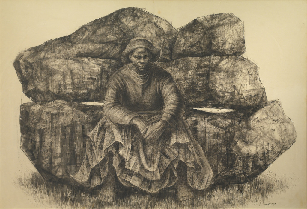 Charles White (American, 1918–1979). *General Moses (Harriet Tubman)*. 1965. Ink on paper, 47 × 68″ (119.4 × 172.7 cm). Private collection. © The Charles White Archives. Photo courtesy of Swann Auction Galleries
