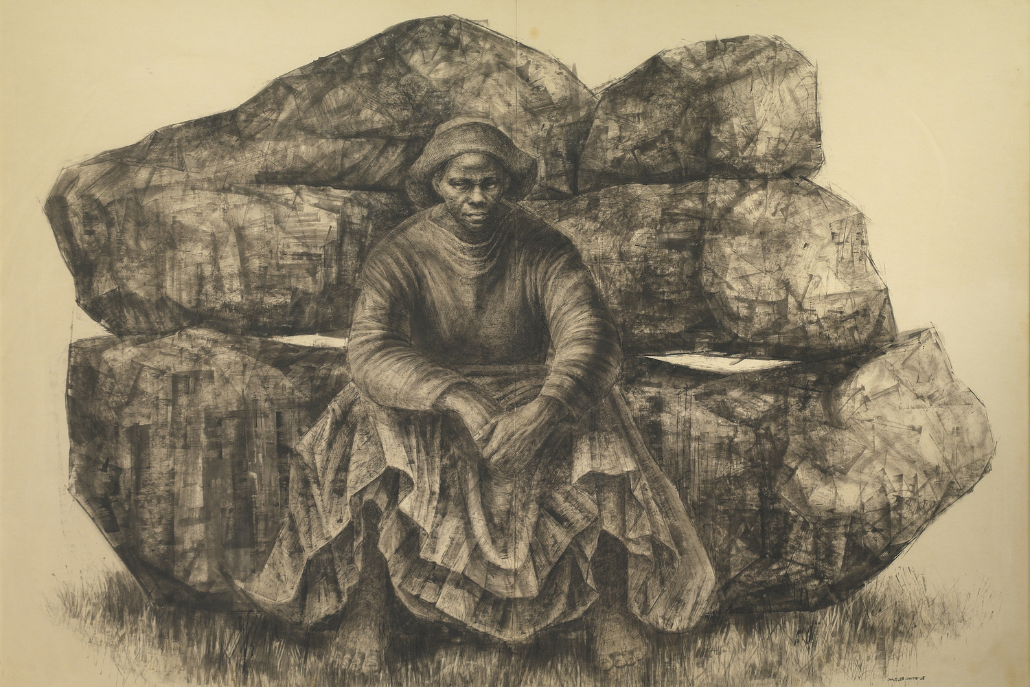 Charles White (American, 1918–1979). General Moses (Harriet Tubman). 1965. Ink on paper, 47 × 68″ (119.4 × 172.7 cm). Private collection. © The Charles White Archives. Photo courtesy of Swann Auction Galleries