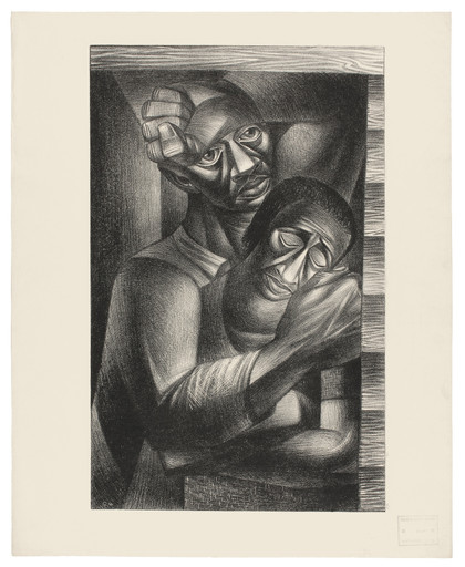 "Charles White (American, 1918-1979). Black Sorrow (Dolor Negro). 1946. Lithograph. 24 5⁄16 × 19 11⁄16"" (61.8 × 50 cm). Philadelphia Museum of Art: Purchased with the James D. Crawford and Judith N. Dean Fund, 2003. © The Charles White Archives"