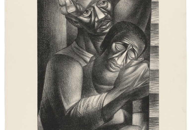 Charles White. <em>Black Sorrow (Dolor Negro)</em>. 1946. Lithograph. 24 5/16 × 19 11/16&quot; (61.8 × 50 cm). Philadelphia Museum of Art. Purchased with the James D. Crawford and Judith N. Dean Fund, 2003. © The Charles White Archives