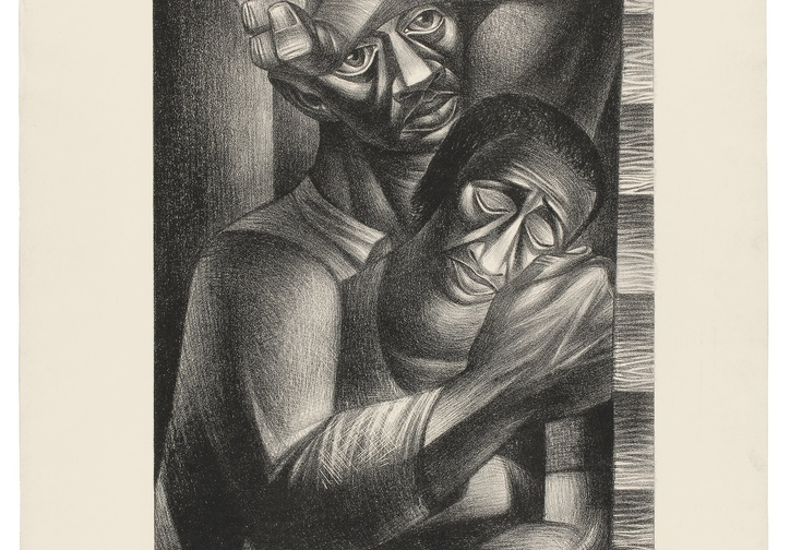 "Charles White. Black Sorrow (Dolor Negro). 1946. Lithograph. 24 5/16 × 19 11/16"" (61.8 × 50 cm). Philadelphia Museum of Art. Purchased with the James D. Crawford and Judith N. Dean Fund, 2003. © The Charles White Archives"