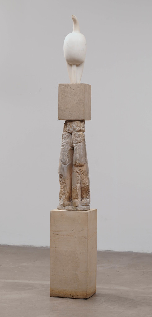 "Constantin Brancusi. *Maiastra*. 1910–12. White marble, 22"" (55.9 cm) high, on three-part limestone pedestal, 70"" (177.8 cm) high, of which the middle section is *Double Caryatid*, c. 1908. Katherine S. Dreier Bequest. © Succession Brancusi - All rights reserved (ARS) 2018"