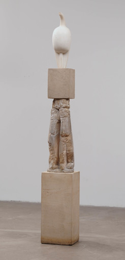 "Constantin Brancusi. Maiastra. 1910–12. White marble, 22"" (55.9 cm) high, on three-part limestone pedestal, 70"" (177.8 cm) high, of which the middle section is Double Caryatid, c. 1908. Katherine S. Dreier Bequest. © Succession Brancusi - All rights reserved (ARS) 2018"