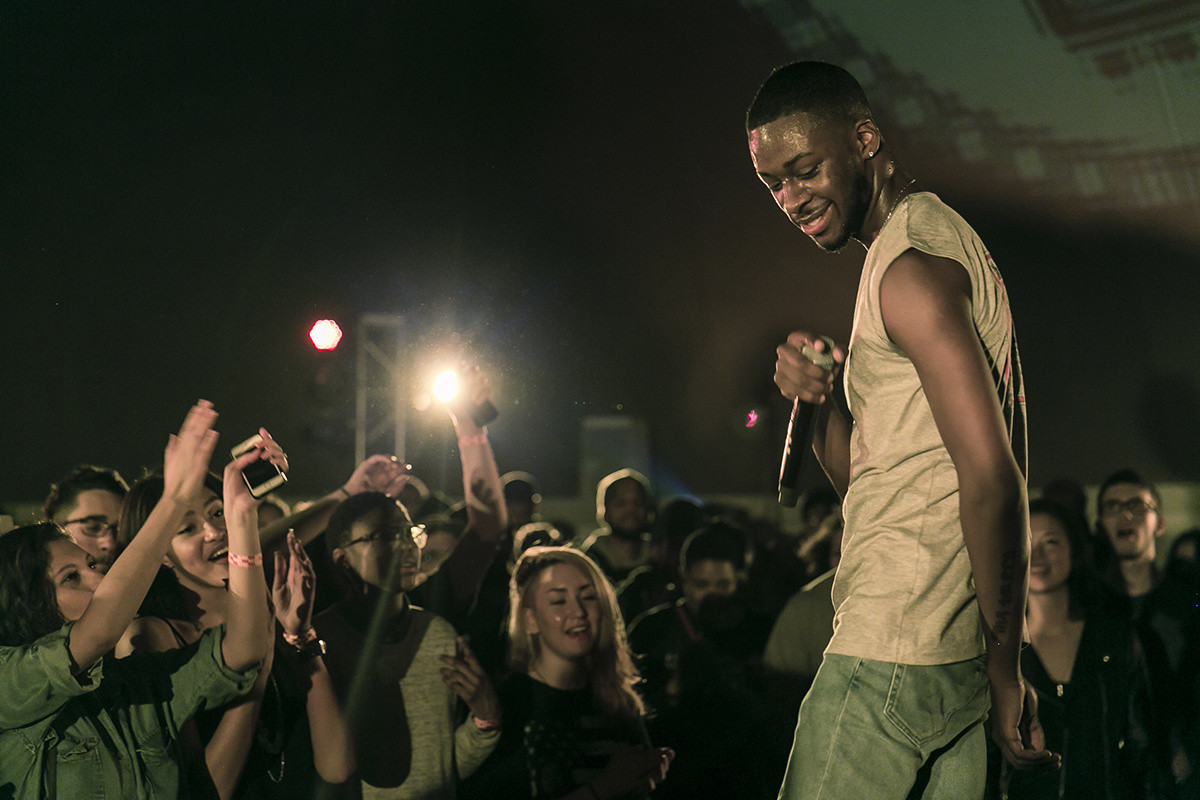 GoldLink with DJ Set by Sango on March 1, 2015, presented at MoMA PS1 as part of VW Sunday Sessions 2014-2015. Photo by Charles Roussel.